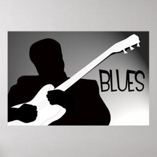 La silhouette du joueur de bleus avec un projecteu affiche