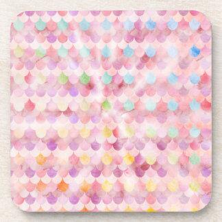 La sirène rose mesure le motif d'échelles de dessous-de-verre