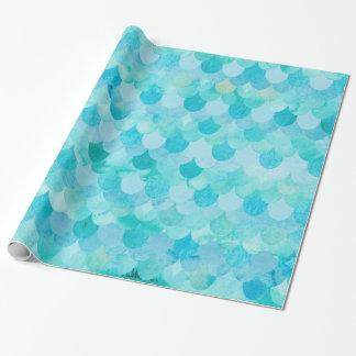 La sirène turquoise d'Aqua mesure le motif Papier Cadeau Noël