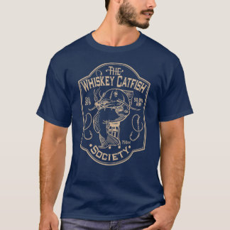 La société de poisson-chat de whiskey - marine/Tan T-shirt