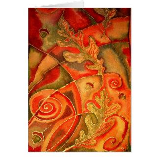 La soie a peint la carte de voeux de feuille de