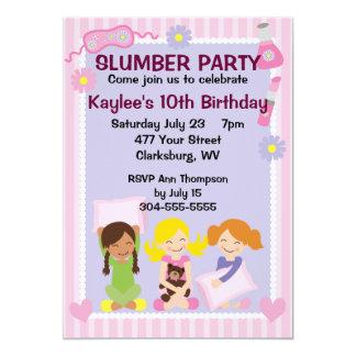 La soirée pyjamas de la fille carton d'invitation  12,7 cm x 17,78 cm