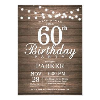 La soixantième ficelle rustique d'invitation carton d'invitation  12,7 cm x 17,78 cm