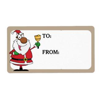 La sonnerie de Bell Père Noël noir a imprimé Étiquette D'expédition