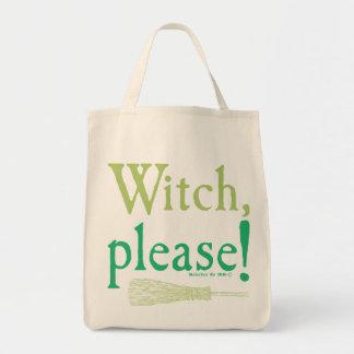 La sorcière de Halloween balayent svp Sacs En Toile