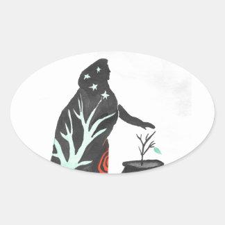 La sorcière et son chaudron sticker ovale