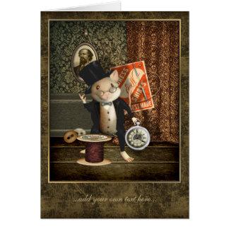 La souris victorienne de tailleur personnalisée carte de vœux