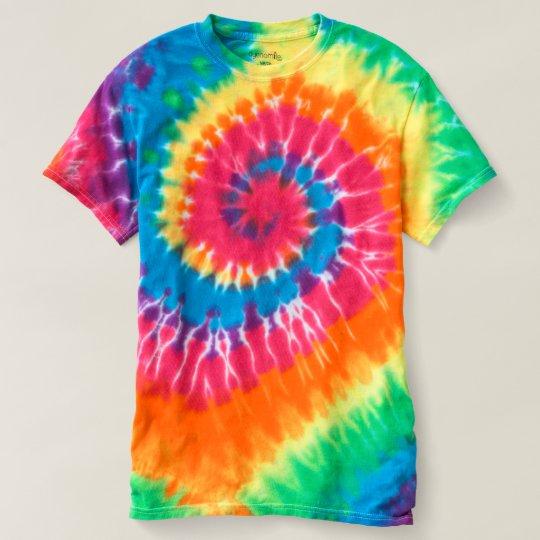 T-shirt teint spirale pour homme, Tourbillon arc-en-ciel