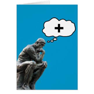 La statue du penseur de Rodin - pensez le positif Carte De Vœux