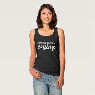 La sueur est T-shirt foncé pleurant de graisse