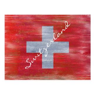 La Suisse a affligé le drapeau suisse Carte Postale