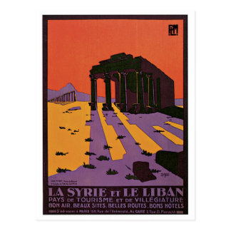 La Syrie et affiche vintage de voyage de Le Liban Carte Postale
