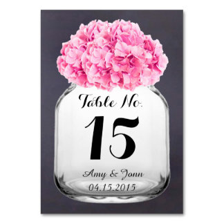 La table rose de mariage d'hortensia numérote