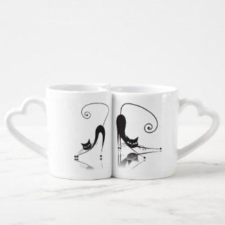 La tasse des amoureux de les chats noirs réglée -