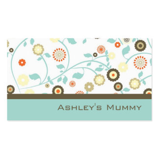 La télécarte de maman fleurit Brown vert moderne Carte De Visite Standard