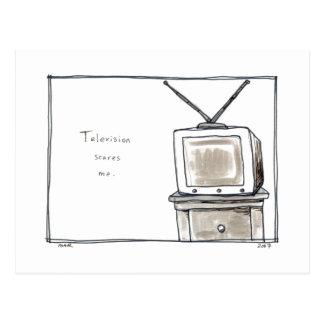 La télévision m'effraye vieil art d'original carte postale
