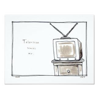 La télévision TV m'effraye art original simple Carton D'invitation 10,79 Cm X 13,97 Cm