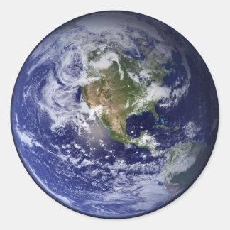 La terre autocollant rond
