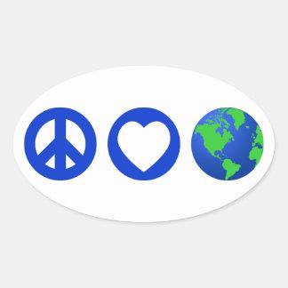 La terre d amour de paix autocollant ovale