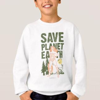 La terre de planète d'économies de femme de sweatshirt