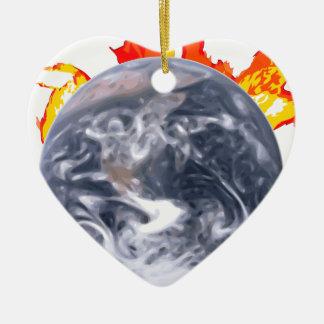 La terre de réchauffement climatique ornement cœur en céramique