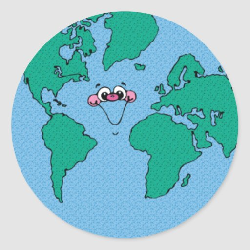 La terre de sourire de planète autocollants ronds