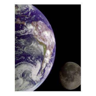 La terre et la lune carte postale