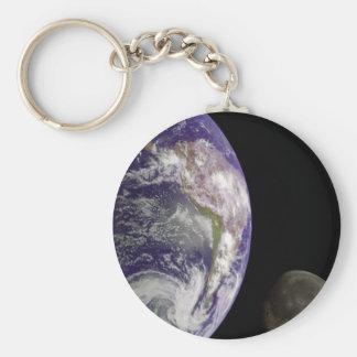 La terre et lune porte-clé rond