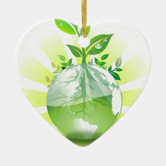 La terre verte ornement cœur en céramique