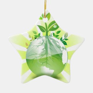 La terre verte ornement étoile en céramique
