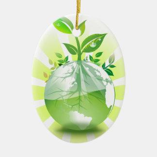 La terre verte ornement ovale en céramique