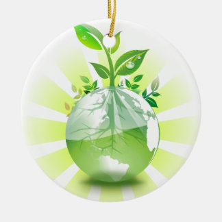 La terre verte ornement rond en céramique
