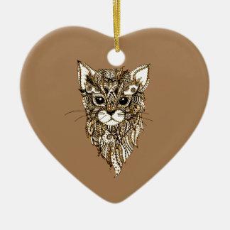 La tête 3 du chat ornement cœur en céramique