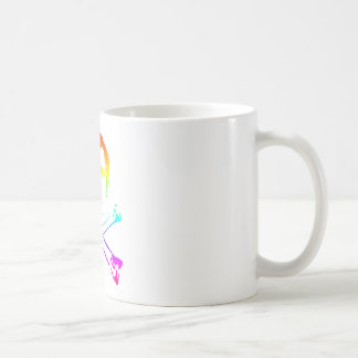 La tête de mort d'arc-en-ciel mug blanc