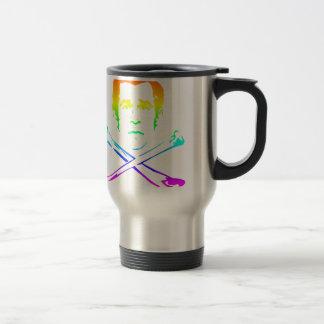 La tête de mort d'arc-en-ciel mug de voyage en acier inoxydable