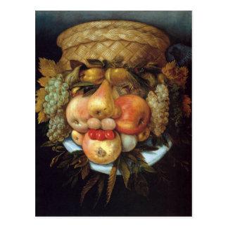 La tête réversible de Giuseppe Arcimboldo avec le Cartes Postales