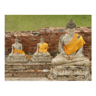 La Thaïlande, Ayutthaya. Statues des buddhas se re Cartes Postales