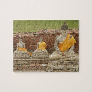 La Thaïlande, Ayutthaya. Statues des buddhas se re Puzzle