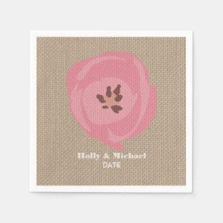 La toile de jute a inspiré les serviettes roses de serviette jetable