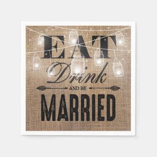 La toile de jute rustique mangent la boisson et serviettes jetables