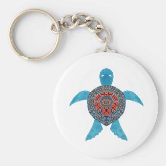 La tortue de mer tribale porte-clé rond