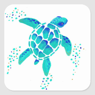 La tortue de Neptune Sticker Carré