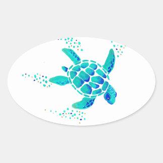 La tortue de Neptune Sticker Ovale