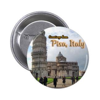 La tour penchée de Pise, Italie Badge Rond 5 Cm