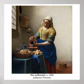 La trayeuse de Johannes Vermeer Poster