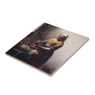 La trayeuse par Johannes Vermeer Petit Carreau Carré