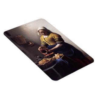 La trayeuse par Johannes Vermeer Magnets Rectangulaire