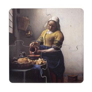 La trayeuse par Johannes Vermeer Dessous De Verre Puzzle