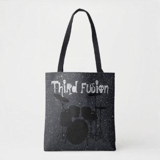 La troisième fusion bat du tambour du noir/du gris tote bag