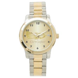 La trompette ajoutent juste l'or nommé coloré montres bracelet